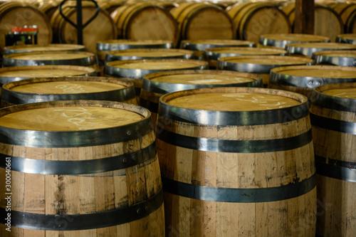Empty Bourbon Barrels Await Filling