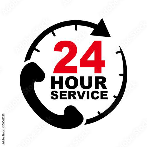 Fényképezés 24 hour service vector design with telephone illustration