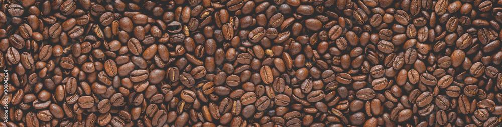 Kaffebohnen als Panorama im soften Look