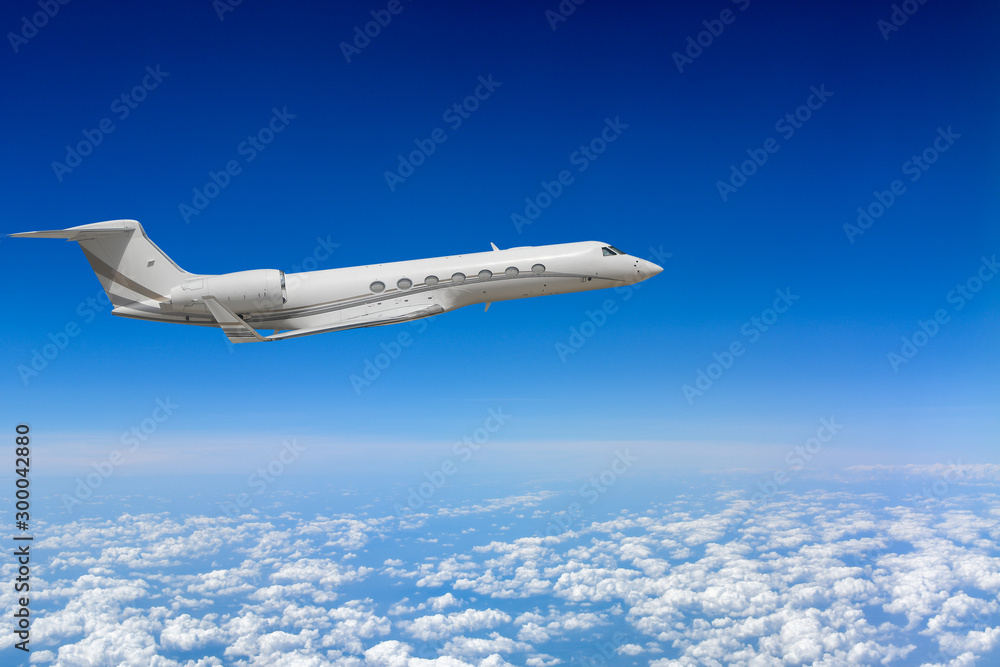Fototapety, obrazy: White airplane flying above cloud