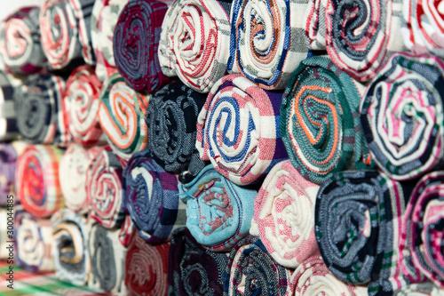 Cuadros en Lienzo Pile of Loincloth fabric Thailand silk