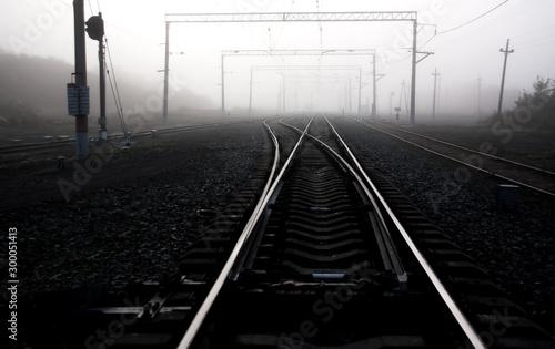 Fotografía  railway tracks in fog