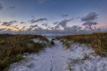 Okaloosa Island Beach Access On A Cold Florida Morning Just Before Sunrise