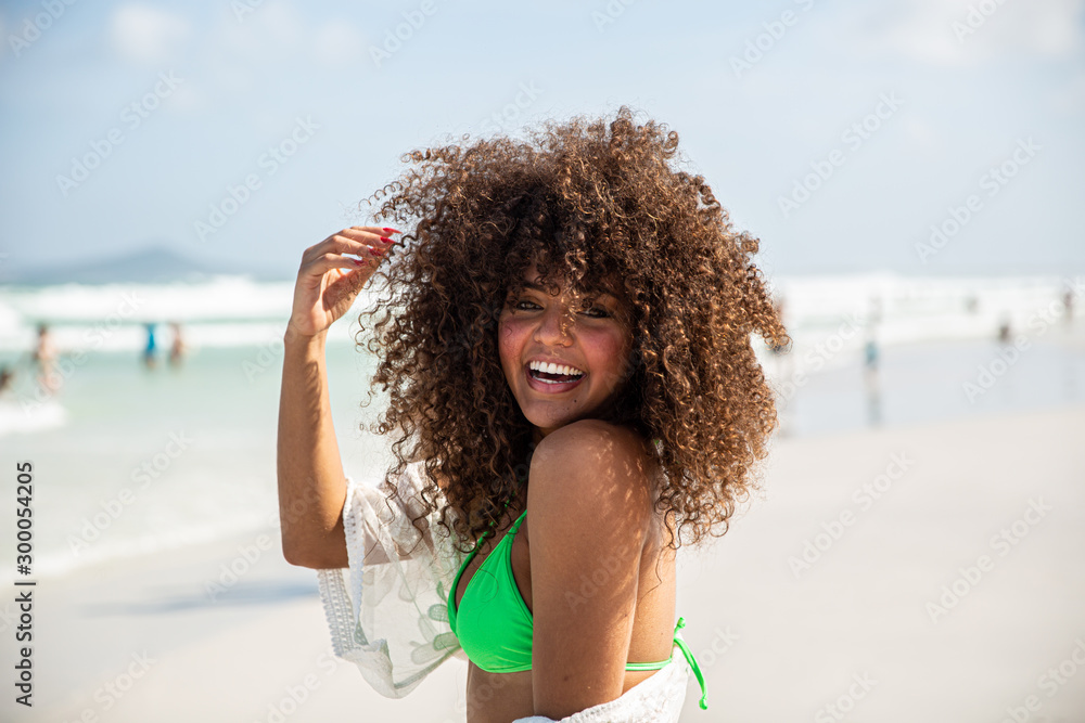 Fototapety, obrazy: Black afro young cute girl, curly hair, bikini, beach. Afro American summer vacation holiday.