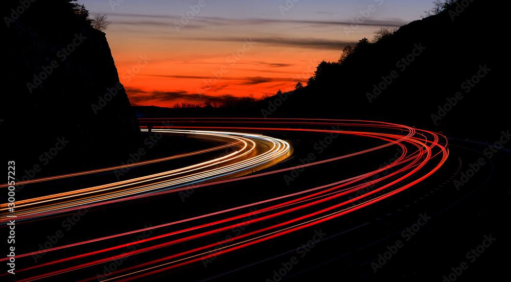 Fototapeta tail light streaks on highway at night. Long exposure.