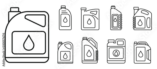 Fototapeta Modern motor oil icons set. Outline set of modern motor oil vector icons for web design isolated on white background obraz