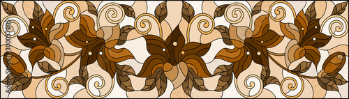 Fotografie, Obraz  llustration in stained glass style with flowers, leaves and buds of lilies on a