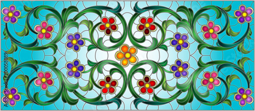 Naklejka kwiaty na szybę  illustration-in-stained-glass-style-with-abstract-swirls-flowers-and-leaves-on-a-blue-ba