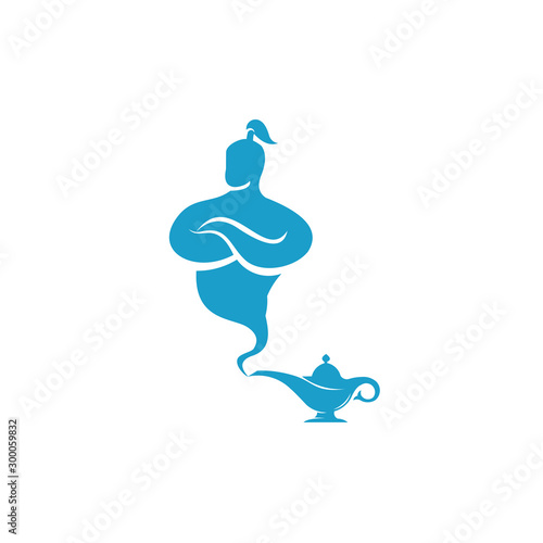 Stampa su Tela  The Genie Coming Out Of The Magic Lamp Vector