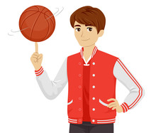 Teen Boy Basketball Player Ill...