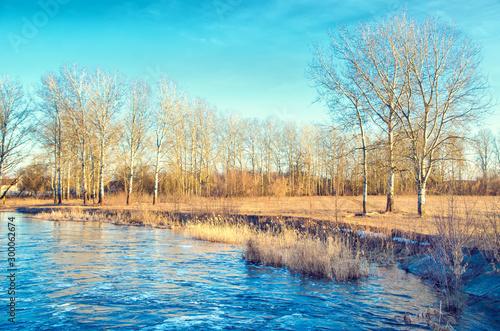 Foto auf Gartenposter Turkis rural river
