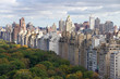 Buildings around Central Park in New York City. Aerial view from above on a cloudy overcast autumn day