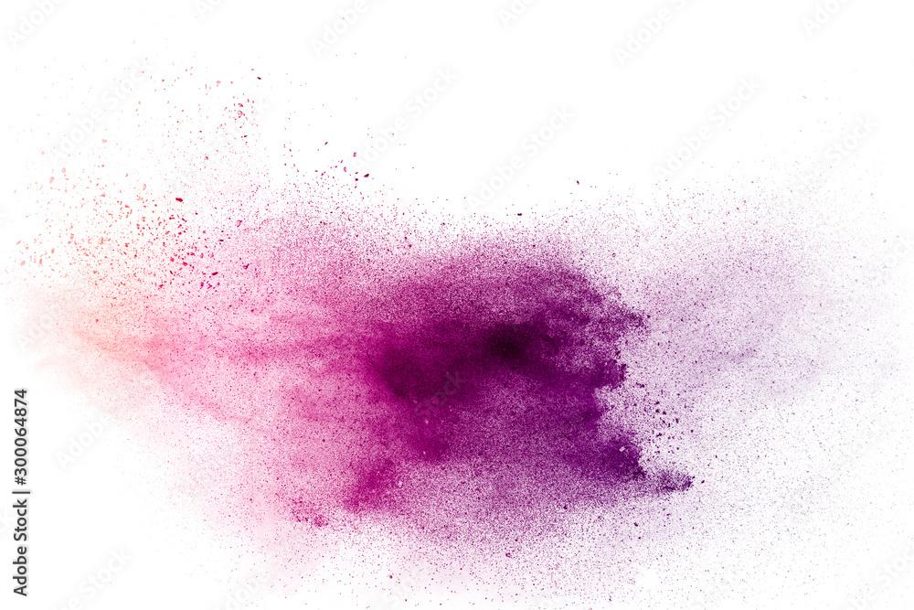 Fototapety, obrazy: Purple particles explosion on white background. Freeze motion of purple dust splash on background.