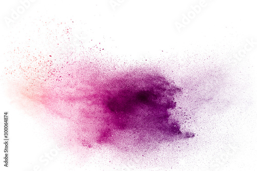 Fotomural  Purple particles explosion on white background