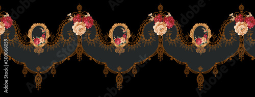 Decorative elegant luxury design.Vintage elements in baroque, rococo style.Design for cover, fabric, textile, wrapping paper . - 300066059
