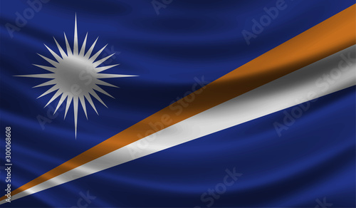 Marshall Islands wave Flag vector illustration Wallpaper Mural