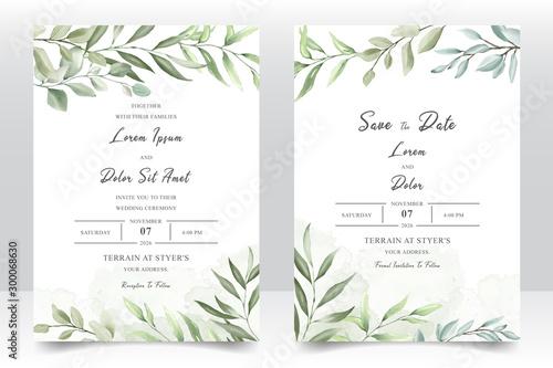 Fototapeta Elegant watercolor wedding invitation card with greenery leaves obraz