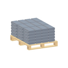 Cement Bags On A Pallet.Vector Isometric And 3D View.