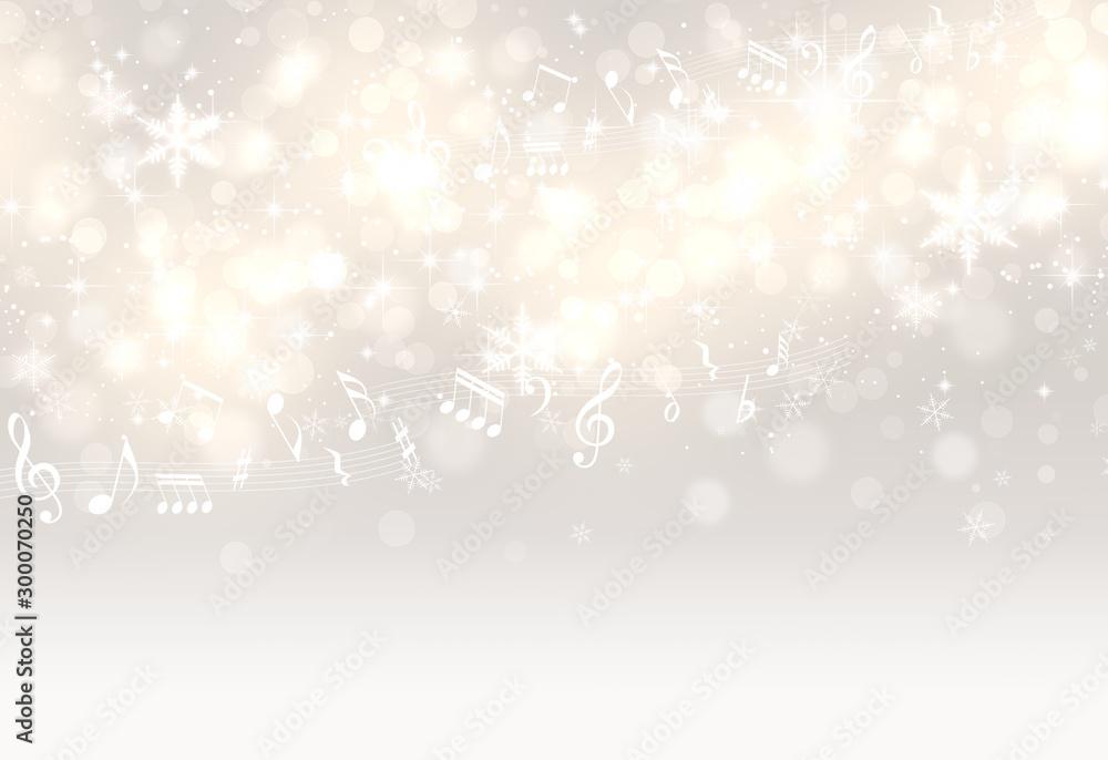Fototapety, obrazy: 音符と光輝く金色と銀色の背景(アブストラクト)