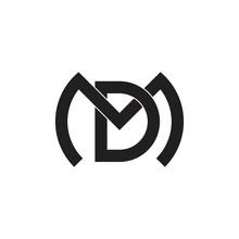 Letter Md Geometric Flat Overlap Design Vector