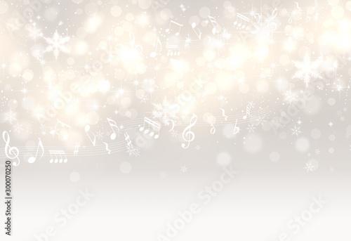 音符と光輝く金色と銀色の背景(アブストラクト) Fototapet