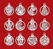 Set Of Laser Cut Template Of Christmas Balls With Angel, Bell, Snowman, Sock, Gift. Xmas Tree Decoration For Paper Cutout. Openwork Silhouette With Lace Ornament. Vector Illustration On Red Background