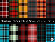 Set Tartan Plaid Scottish Seam...