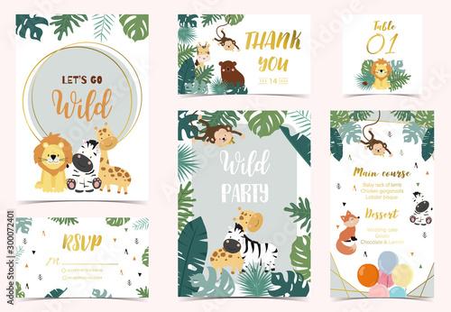 Obraz na plátně  Collection of safari background set with giraffe,fox,monkey,zebra