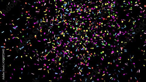 Obraz Colorful confetti on the black background - fototapety do salonu