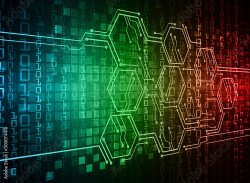 Blue cyber circuit future technology concept background Fototapet