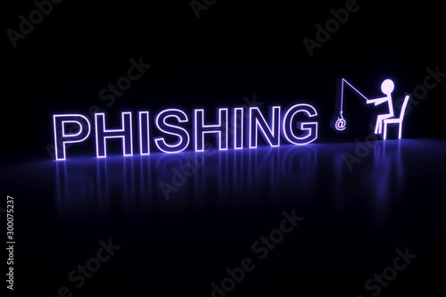 Fotomural  PHISHING neon concept self illumination background 3D illustration