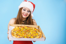 Christmas Woman Holds Pizza In Box
