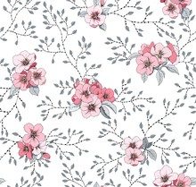 Pink Small Flowers Seamless Pattern For Fabric And Wallpaper. Flowering Apple Tree And Small Leaves.