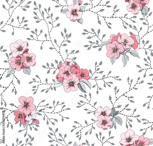 Tapeta do sypialni  rozowe-male-kwiaty-wzor-na-tkaniny-i-tapete-kwitnaca-jablon-i-male