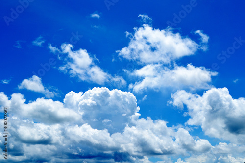 Foto op Plexiglas Donkerblauw Blue sky and white clouds In the daytime.