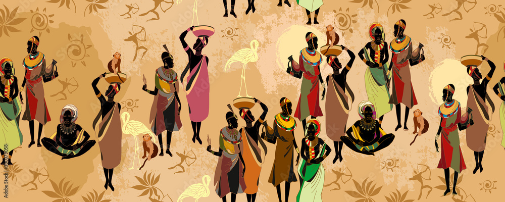Fototapeta African women silhouettes in national clothes horizontal seamless pattern. Beautiful black females. Tribal art. People of South Africa, vector illustration