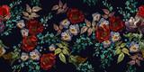 Haft czerwone róże, fioletowe kwiaty i zioła łąkowe, poziome wzór. Kwiatowy szablon moda coloful na ubrania, tekstylia, projekt koszulki - 300079002