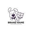 creative logo design Dog and Cat vector template