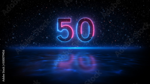 Tela  Number 50 Neon Light Style With Shadow On Blue Light Water Surface Against Dark