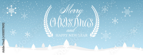 Foto auf Gartenposter Licht blau Merry Christmas and Happy New Year typographical on blue background with winter landscape with snowflakes. Vector illustration