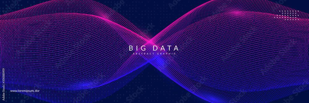 Fototapeta Big data learning. Digital technology abstract background. Artificial intelligence concept. Tech visual for database template. Cyber big data learning backdrop.