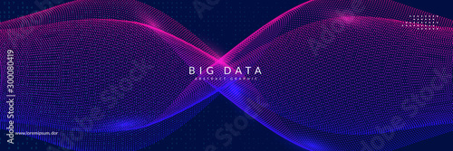 Fototapeta Big data learning. Digital technology abstract background. Artificial intelligence concept. Tech visual for database template. Cyber big data learning backdrop. obraz