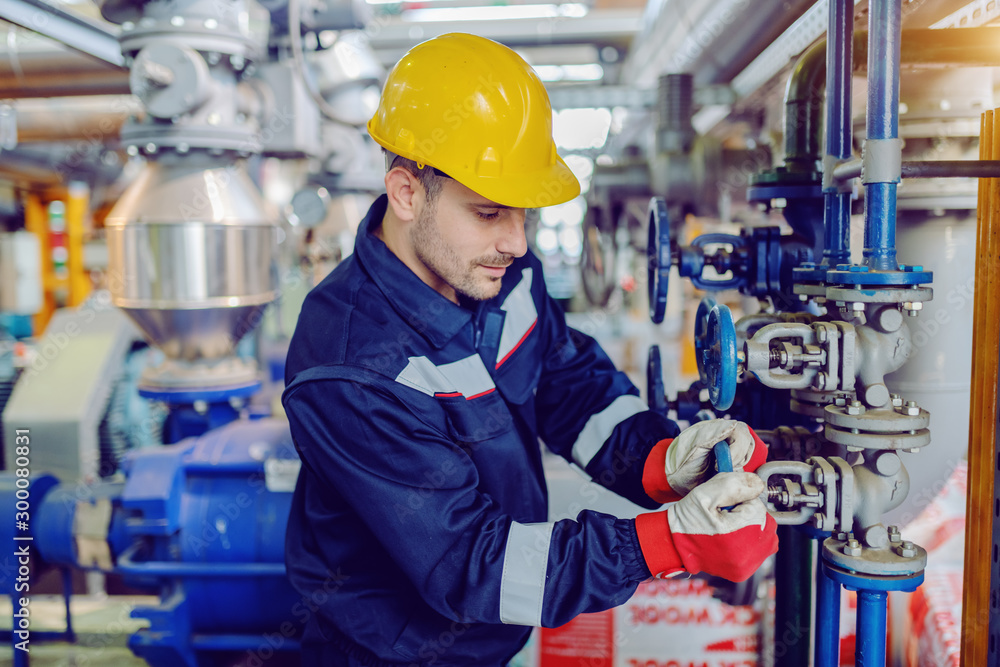 Fototapeta Dedicated hardworking worker in protective working clothes and with helmet on head screwing valve while standing in factory.