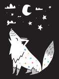 Fototapeta Dinusie - Wolf howls at the moon in the night. Scandinavian style. Vector illustration