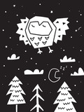 Fototapeta Dinusie - Owl flying over the forest. Trendy scandinavian vector illustration in monochrome
