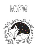 Fototapeta Dinusie - Home. Scandinavian print with sleeping fox. Vector illustration