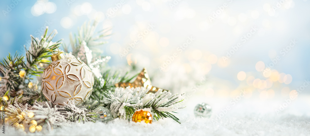 Fototapety, obrazy: Christmas winter background with Christmas baubles and fir tree branches on snow.