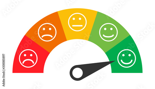 Fotografía  Customer icon emotions satisfaction meter with different symbol on white backgro