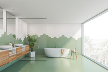 Green And White Tile Bathroom, Tub And Sink