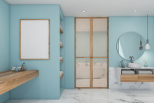 White Marble And Blue Bathroom With Poster
